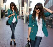 jacket,clothes,girl,cardigan,emerald green,forest green,blazer,double breasted,buttons,classy,dress up party,casual,fashion,fancy cardigan,jeans,shoes,blue jacket,sunglasses,coat,style scrapbook,shorts
