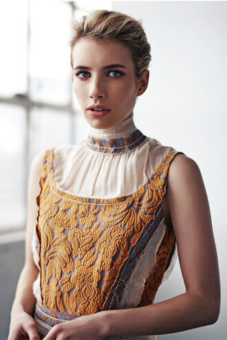 dress emma roberts fashion mustard turtleneck prada