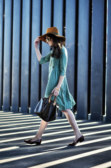 blogger sunglasses bag views by laura fall outfits felt hat aqua