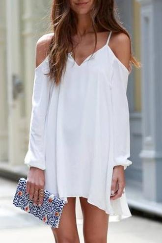 dress white white dress off the shoulder summer dress back to school zaful spaghetti strap blogger outfit lookbook boho boho chic