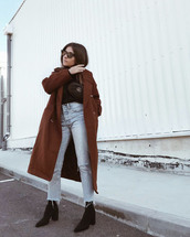 coat,tumblr,brown,brown coat,sunglasses,boots,black boots,denim,jeans,blue jeans