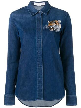 shirt denim shirt denim embroidered women spandex tiger cotton blue top