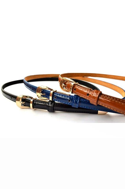 Thin Patent Leather Belt - OASAP.com