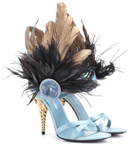 Prada sandals satin blue shoes