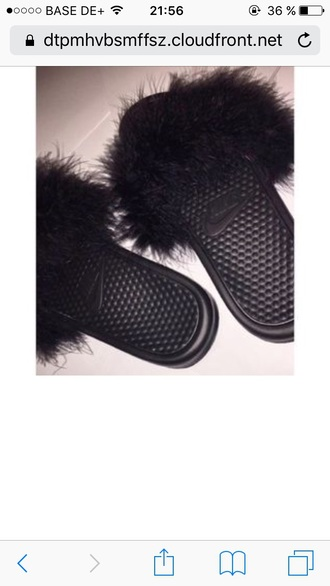shoes nike faux fur slippers