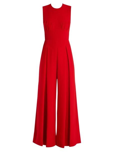 EMILIA WICKSTEAD Ethel wide-leg wool-crepe jumpsuit in red
