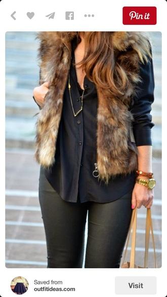 jacket faux fur vest vest fur layers pretty