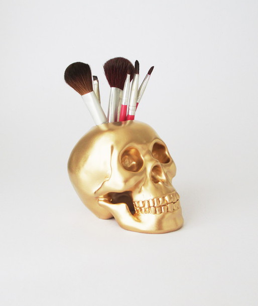 home accessory skull makeup brush holder skull makeup brush holder gold skull makeup brushes beauty organizer