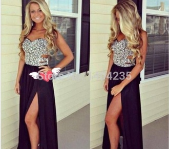 jewels dress prom dress black silver chiffon chiffon dress prom cut-out dress long prom dress long dress black dress