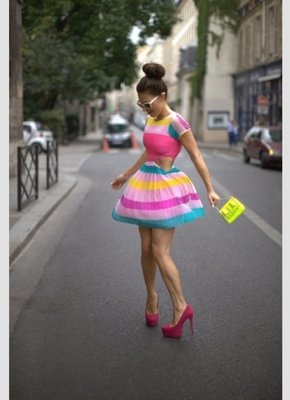multicolor dress cutout flirty girly stripes