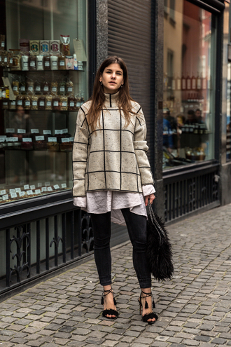 the fashion fraction blogger sweater shirt jeans shoes bag furry shoes sand sweater aquazzura aquazzura sandals black sandals sandals high heel sandals fringes fringe shoes fringed sandals black high heels black jeans checkered checkered sweater furry bag black bag fall outfits top