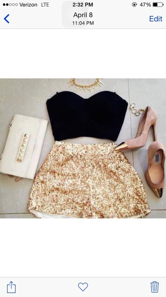 shorts gold sequins