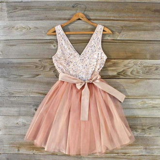 dress sequin dress pink dress bows fashion girl cute clothes pink#cute#dress bow pink tutu cocktail dress sparkle jewelry rose blanc perle décolleté soirée princess pale glitter dress cute dress peach dress glitter sparkle pastel tank top girly pastel dress