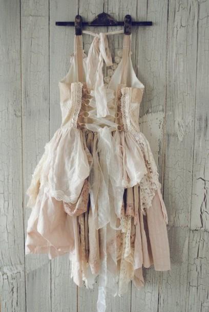 dress white dress cream dress pink dress natural natural kei mori mori kei nature ribbon corset short dress fairy nymphet