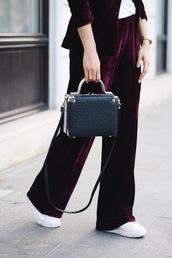 pants,tumblr,burgundy,velvet,velvet pants,wide-leg pants,bag,handbag,black bag,sneakers,white sneakers,wide-leg velvet pants