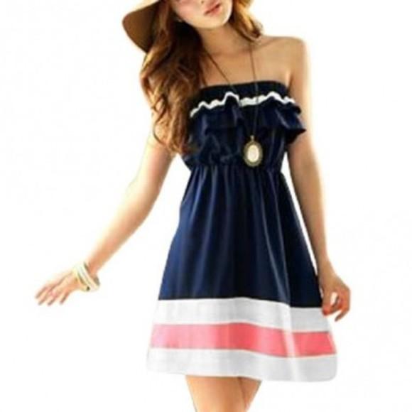 short dress blue dress pink stripes cute dress little blue dress blue pink white navy dress blue navy strapeless mini dress