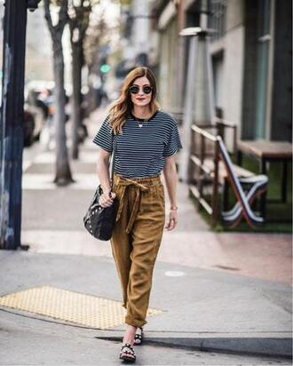 t-shirt sandals pants striped t-shirt boxy tee studded sandals shoulder bag high waisted