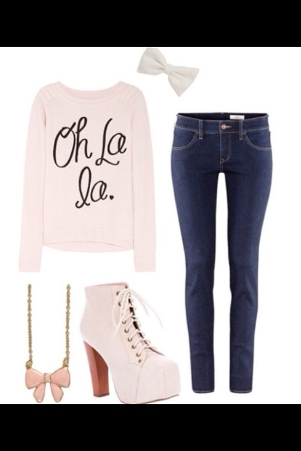 shoes pink jewels hair accessory shirt