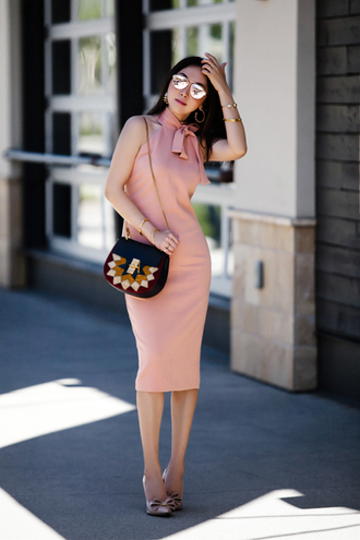 fit fab fun mom blogger dress shoes bag jewels sunglasses midi dress pink dress crossbody bag pumps bow heels spring outfits