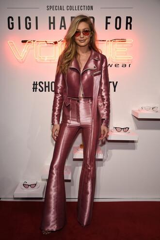 pants top jacket dusty pink gigi hadid sunglasses model shoes