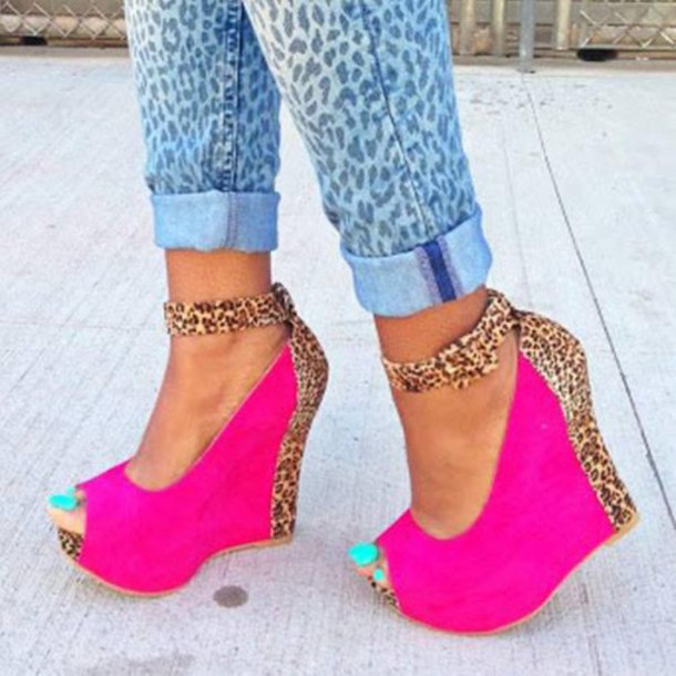Shoes: heels pink pink shoes pink wedges hot pink hot pink