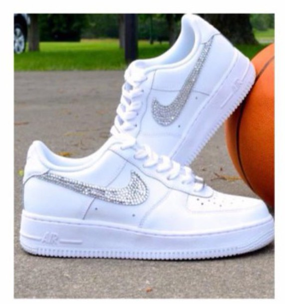 new style fa354 e5e94 shoes sneakers nike stones sparkle sequins white nike air force 1 low top  sneakers