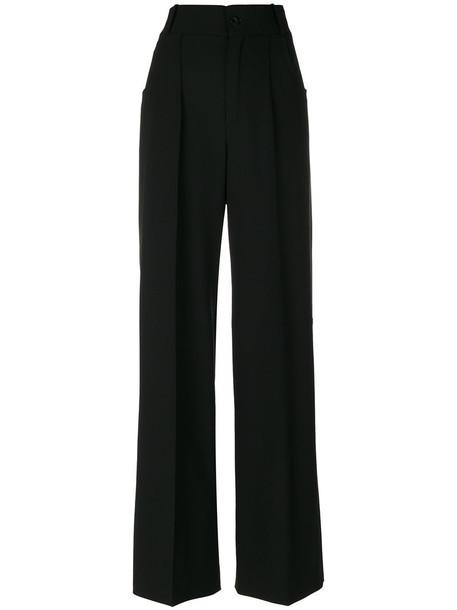 pants palazzo pants women spandex black silk wool