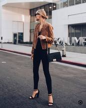 jacket,suede jacket,biker jacket,skinny jeans,black denim,high heel sandals,shoulder bag,sunglasses,black top