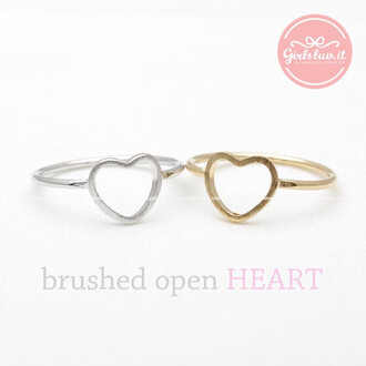 ring heart ring jewels heart lovely love ring open heart ring simple