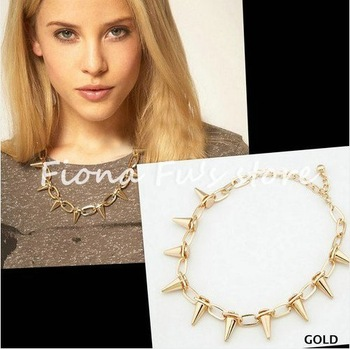 NEW Fashion Punk Rock Gold silver Shiny Metal Metalic spike necklace rivet spiked necklace choker BEST QUALITY FF1208 46-in Chain Necklaces from Jewelry on Aliexpress.com | Alibaba Group