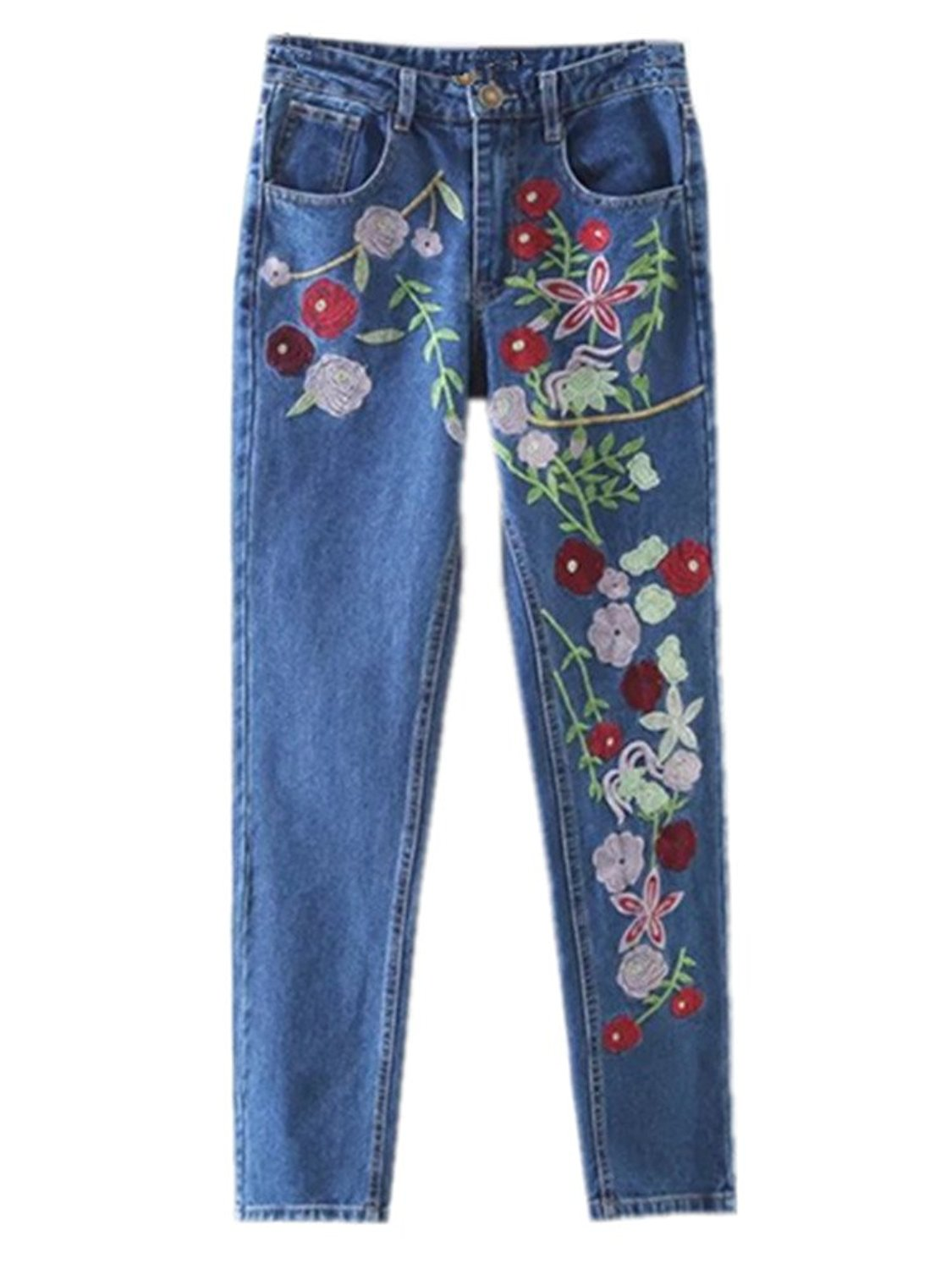 Women's Embroidered Red Pink Flowers Embellished Straight-leg Jeans Dark Blue at Amazon Women's Jeans store