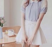 blouse,peter pan collar blouse,peter pan collar,paste colors,baby blue peter pan collar blouse,cute blouse,cute,kawaii,cute skirt,white skater skirt,white bow skater skirt,lace and peter pan collar blouse,pastel,pastel shirt,kawaii outfit,cute outfits,kawaiilabo,ulzzang,korean fashion,lovely,sweetheart outfit,blue blouse,bow,lace blouse,white lace blouse,skirt,dress,purple and white