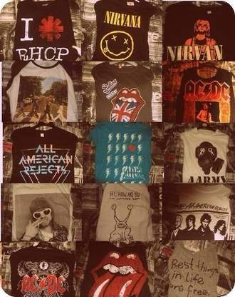 t-shirt band t-shirt nirvana rhcp rock n roll grunge punk punk rock black acdc the rolling stones shirt