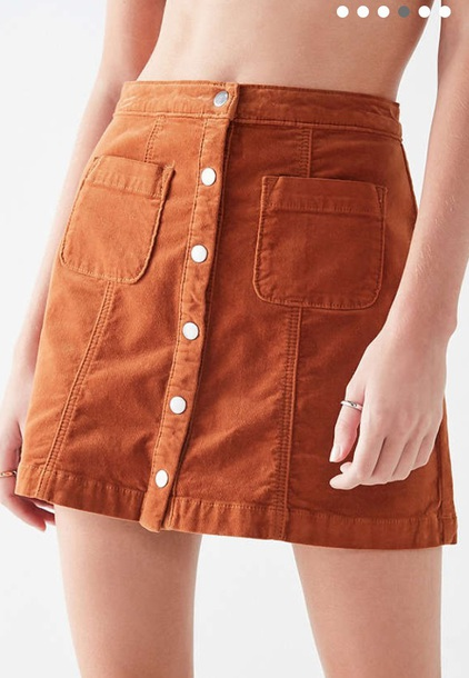 skirt short skirt orange brown beige corduroy skirt