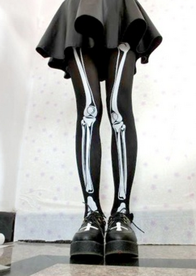 Skeleton stockings from creepy cute clothing on storenvy