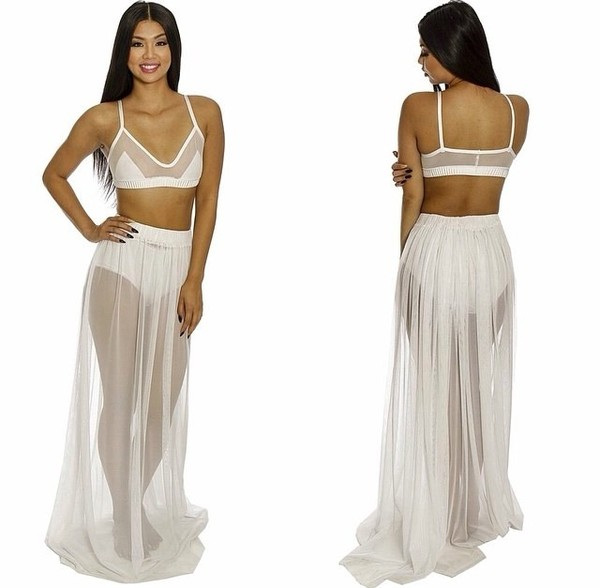 dress white mesh swimwear bikini cover up cover up summer beach set skirt bralette
