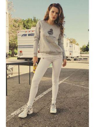 sweater grey bella thorne instagram pants sneakers spring outfits sweatshirt