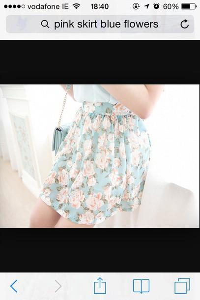 skirt blue floral