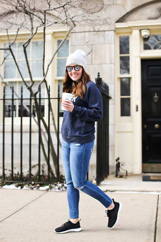 sequins and stripes blogger hat sweater coat shoes sunglasses