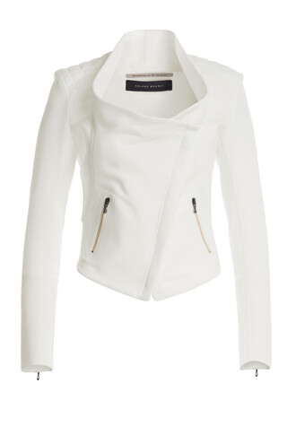 jacket biker jacket cotton white