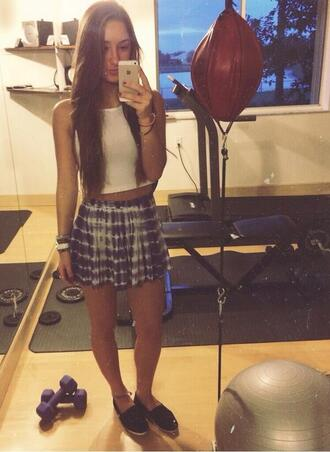 skirt tie dye skirt crop tops blue and white striped