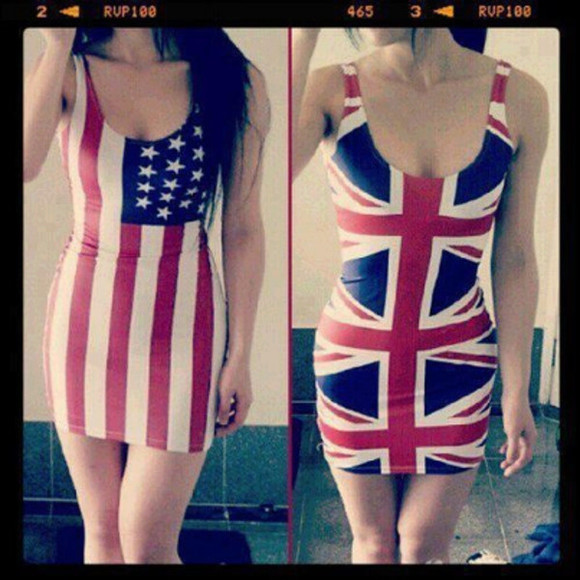 british flag red white and blue american flag dress usa