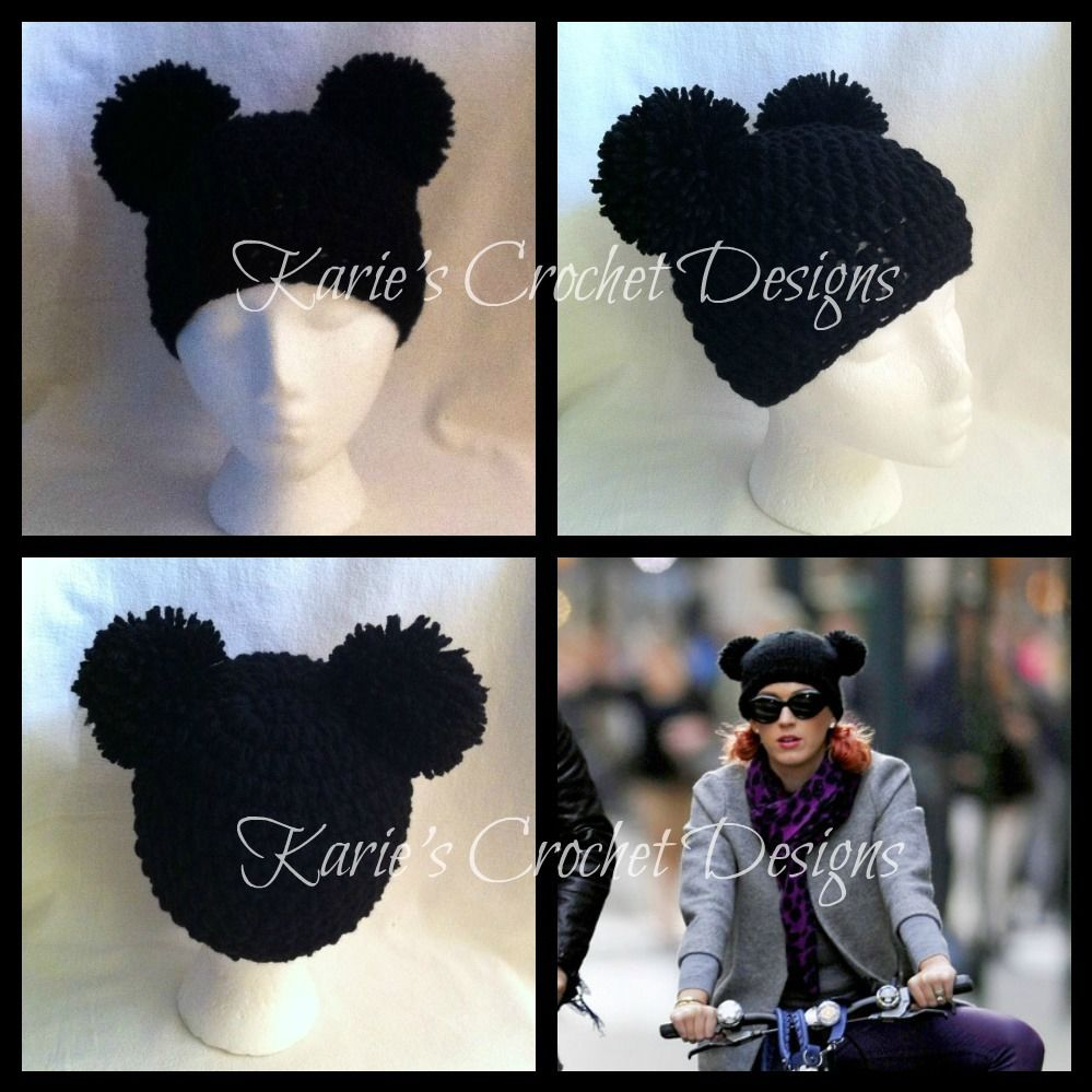 19176aa48 Mickey Mouse Pom Pom Ears Beanie Hat Handmade Crocheted | eBay