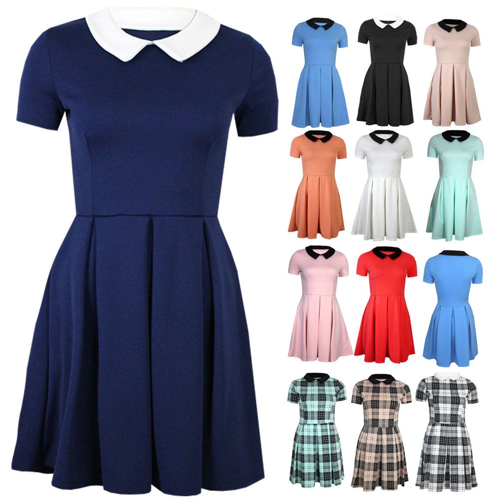 Womens Short Sleeve Peter Pan Collar Block Pleat Short Shift Skater Party Dress | eBay
