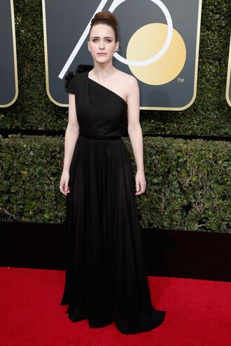dress rachel brosnahan black dress one shoulder maxi dress golden globes 2018