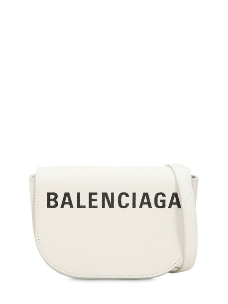 BALENCIAGA Xs Ville Day Leather Shoulder Bag in black / white