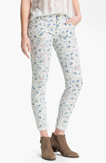 Fire Floral Print Destroyed Skinny Jeans (Juniors) | Nordstrom on Wanelo