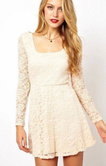 U-neck Long Sleeves Backless Lace Skater Dress