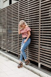 the courtney kerr,blogger,top,jeans,belt,shoes,jewels,sunglasses,wedges,ruffled top,pink top,gucci belt,fall outfits