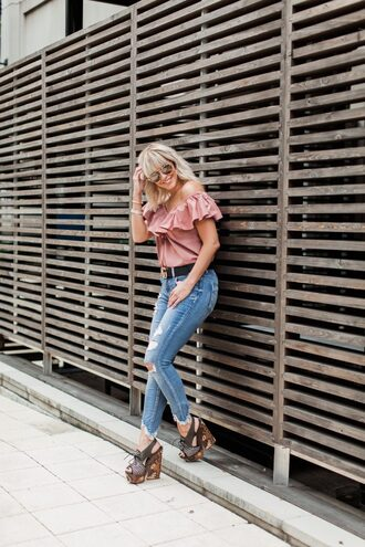 the courtney kerr blogger top jeans belt shoes jewels sunglasses wedges ruffled top pink top gucci belt fall outfits